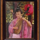 ART ORIGINAL OIL ON CANVAS CHARMING LADY PLAYING LUTE
