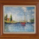 ART SALE OIL PAINTING repro of Monet Red Boat-LANDSCAPE