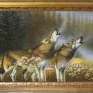 "36""SALE ORIGINAL OIL ON CANVAS SIGNED ANIMAL Wolf"