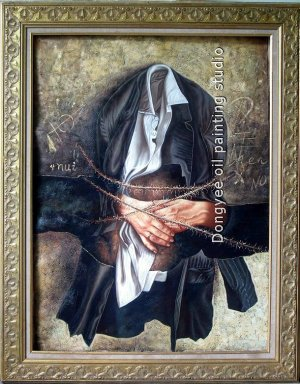 ART SALE SURREALISM OIL ON CANVAS SIGNED Clothing 30X40