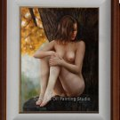 Original Oil Painting Nude Girl Sitting Under A Tree