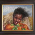 ORIGINAL OIL PAINTING-Young Girl At Somalia Refugees