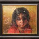 ART ORIGINAL OIL PAINTING UNHAPPY PAKISTANI YOUNG GIRL