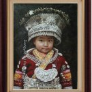 ORIGINAL OIL PAINTING MIAO NATION GIRE SIGNED ON SALE