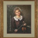 ART SALE ORIGINAL ON CANVAS YOUNG GIRL Musician Violin