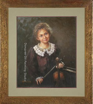 ART SALE ORIGINAL ON CANVAS YOUNG GIRL Musician Violin