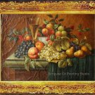Art Oil Painting On Crackeled Canvas Still Life Fruits