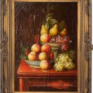 Archaistic Oil Painting on crackeled canvas Life Fruits