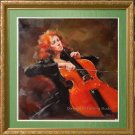 Art Realism With Impressionism Oil Painting Cellist