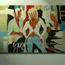 SALE ART DECO OIL PAINTING ON CANVAS FIGURES IN THE BAR