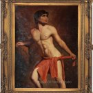 Original Oil Painting On Linen Canvas Men Male Nude