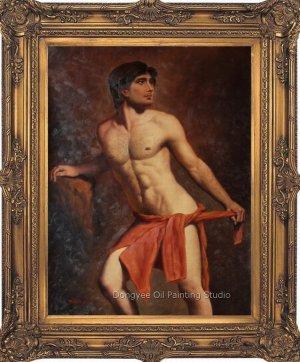 Original Oil Painting On Linen Canvas Men Male Nude