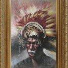 ART SALE ORIGINAL ON CANVAS Injun man SIGNED FIGURES