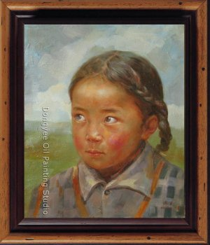 ART ORIGINAL OIL ON CANVAS TIBETAN YOUNG GIRL ON SALE