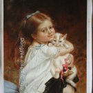 SALE OIL ON CANVAS Emile Munier-little girl Poesje
