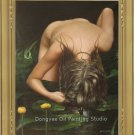 ORIGINAL OIL PAINTING ON CANVAS WASHING HAIR NUDE GIRL