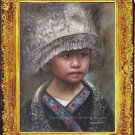 Oil Painting-Miao Nationality Girl Wears Rich Attire