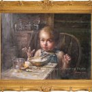 Art Oil Painting On Canvas Repro Children My Dinner Kid