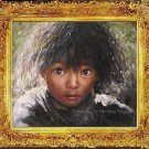 Tibetan Nomad Girl Art Original Oil Painting Portrait
