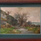 Landscape-CHRIS VAN DER WINDT-FARMYARD OIL ON CANVAS