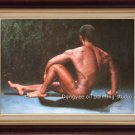 ORIGINAL OIL PAINTING strong  male Nude-ON SALE