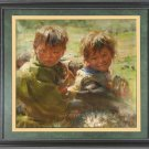 ART ORIGINAL OIL PAINTING TIBETAN NOMAD CHILD COWHERD