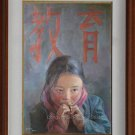 "Original Oil Painting ""Education"" Young Girl Tibetan"