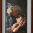 ORIGINAL OIL PAINTING TIBETAN YOUNG GIRL MOTHERHOOD ART