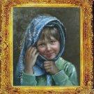 ART ORIGINAL OIL ON CANVAS PRETTY RUSSIAN GIRL PORTRAIT