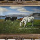 ART ORIGINAL OIL PAINTING SIGNED Cow ANIMALS