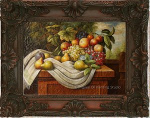 Archaistic Oil Painting Still Life On Crackeled Canvas
