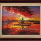 SALE ORIGINAL OIL PAINTING Fish in the setting sun