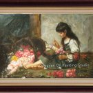 "36""-Harlamoff-THE FOLWER GIRL OIL ON CANVAS FIGURE"