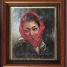 Art Original Oil Painting Afghan Girl With a Red Scarf