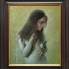 ORIGINAL OIL ON CANVAS CHARMING LADY& THE DEAD ROSES