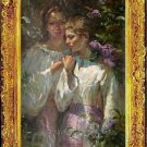Oil Painting On Canvas-Repro -Amidst The Lilacs Figures