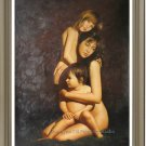Original Oil Painting From Photo Mother and children