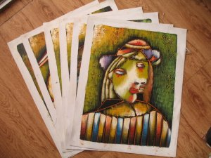 Wholesale lots of 6 oil paintings-abstract figures art
