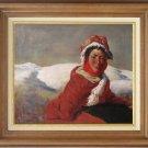 ART SALE OIL PAINTING SIGNED TIBETAN GIRL PORTRAIT