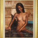 ORIGINAL OIL ON CANVAS DABBLER SEXY NUDE INDIAN GIRL