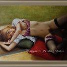 Art Original Oil Painting Oriental Lady Sexy Nude Girl