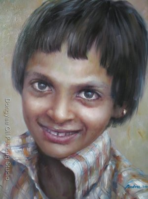 FREE SHIPPING OIL ON CANVAS PORTRAIT OF A INDIAN GIRL