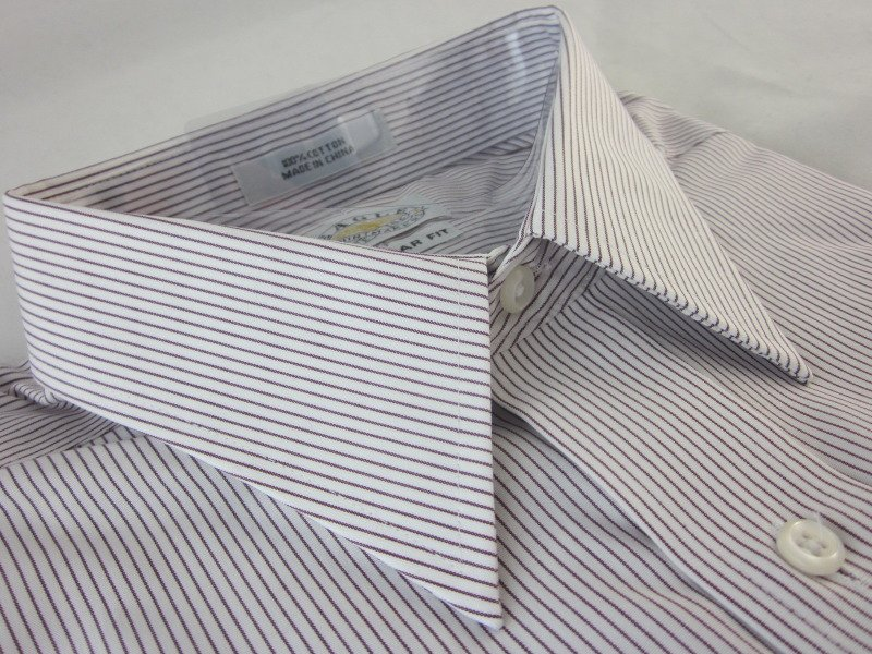NEW EAGLE DRESS SHIRT L 16.5 34/35 Red Stripe Cotton Non-Iron Regular Fit  NWT