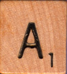 """Scrabble Letter Wood/Wooden Tile """"A"""" for replacement or crafts like jewelry or decorations"""