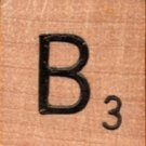 """Scrabble Letter Wood/Wooden Tile """"B"""" for replacement or crafts like jewelry or decorations"""