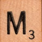 "Scrabble Letter Wood/Wooden Tile ""M"" for replacement or crafts like jewelry or decorations"