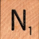 "Scrabble Letter Wood/Wooden Tile ""N"" for replacement or crafts like jewelry or decorations"