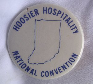 Hoosier Hospitality National Convention Pin Button Indiana Good Condition VTG