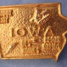 "Iowa Gold Lapel/Tie Pin ¾"" x 1"" Excellent Condition Pin Fastener VINTAGE"