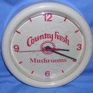 Advertising Clock Country Fresh Mushrooms Plastic (Uses 1 AA battery) VINTAGE FREE SHIPPING USA